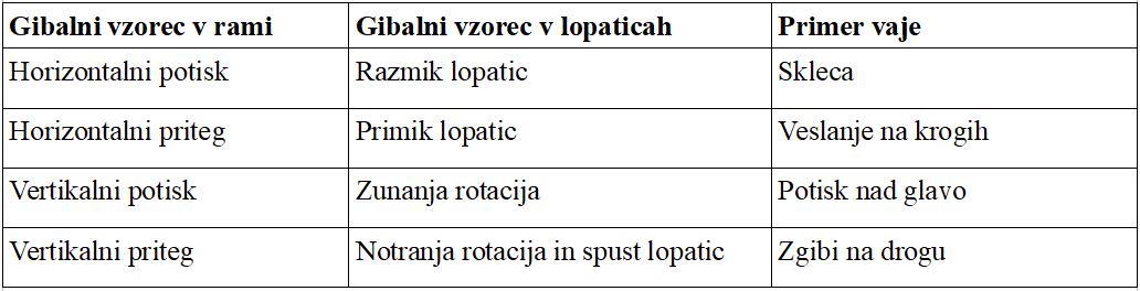 Gibalni vzorci v rami in lopaticah